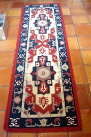 Antique Turkish Kelim hand made wool runner, size 30 inches by 97 inches.