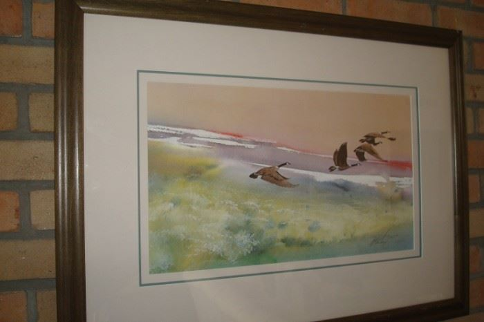 "Limited edition ""Morning Mist Canada Geese"" by Mort Solberg."