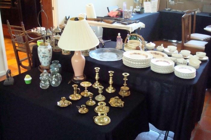 Candlesticks & misc collectibles including set of Spode china.