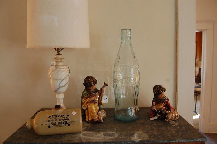 Pair Alabaster lamps, advertising foot warmer