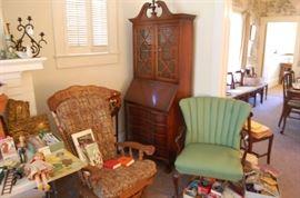 platform rocker, vintage lounge chair, mahogoney drop front secretary