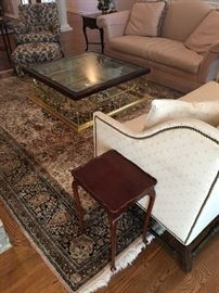 """Wood, Brass & Beveled Glass Coffee Table (44"""" Square X 15.5"""" H) and like new,  traditional seating"""