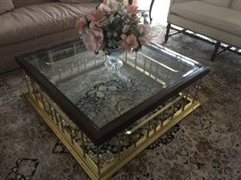 """Wood, Brass & Beveled Glass Coffee Table (44"""" Square X 15.5"""" H)"""