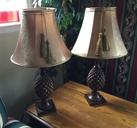 Pair of wood carved pineapple lamps.