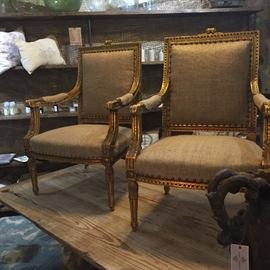 French King Louis XVI chairs in Burlap