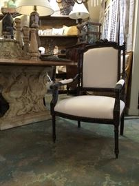 King Louis XVI Chairs Upholstered and Chalk Painted.  Two arm chairs, Four armless chairs, Settee