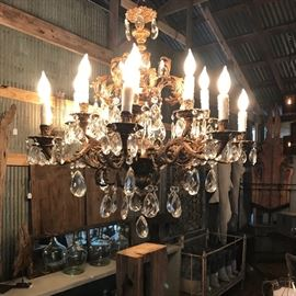Antique Brass Chandelier with Prisms- New Wiring