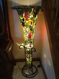 "Tiffany style floor lamp with Iron pedestal. 46"" Tall, 19"" round"