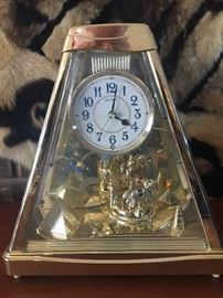 Table top Seiko Clock with horse carousel