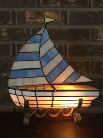Tiffany style sailboat table lamp