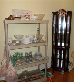 more glassware, margarita set, lighted display cabinet