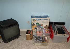 small TV, CD's, DVD's