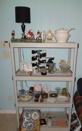 retro coin cast iron banks, set of dishes, glassware