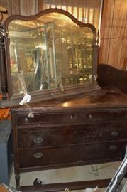 nice vintage dresser w/mirror, with a matching headboard & footboard