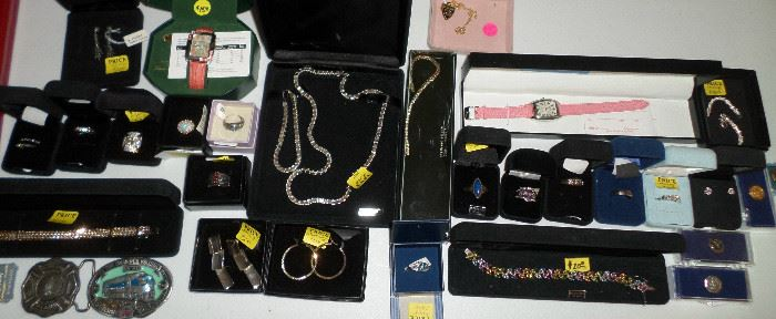 belt buckles & small bit of the sterling jewelry, rings & watches - there are loads of bins of costume & sterling jewelry as well