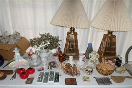 some vintage lamps & box of retro stemware (never used) from Portugal