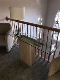 RECTANGULAR  GLASS TABLE WITH MARBLE BASE
