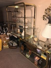 RETRO METAL AND GLASS DISPLAY SHELVES