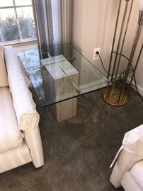 GLASS TABLE WITH MARBLE BASE