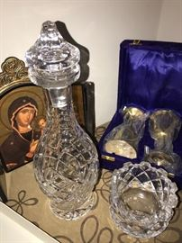 CRYSTAL DECANTER AND ORREFORS BOWL