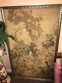 LARGE FRAMED ANTIQUE FRENCH TAPESTRY