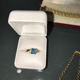 14K TOPAZ RING WITH DIAMONDS