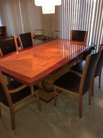 GORGEOUS ITALIAN WOODEN CONTEMPORARY DINING ROOM TABLE W/6 CHAIRS