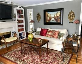 Baker Couch, Hekman Table, Cain Bench,  Antique Brass Sconces, Wool Rajah Rug (5x8) and Nambe Collection - TV NFS
