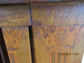 HEPPLEWHITE DESK, DATES FROM 1850-1860'S, TAMBOUR DOORS, PENCIL SCRIBED NUMBERING ON DRAWERS, SOME HAND SAWN WOODS THA MAY HAVE BEEN REPLACED OVER THE YEARS, TRULY MAGNIFICENT.