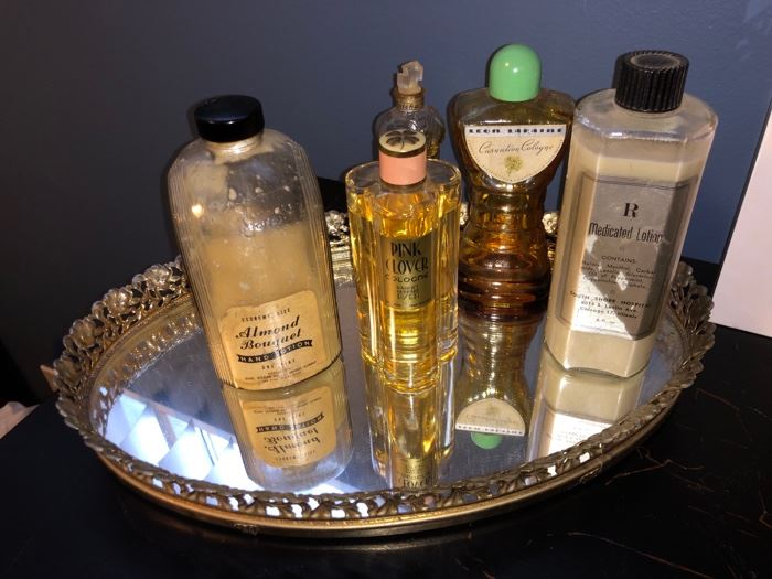 Vintage perfume bottles and dresser tray