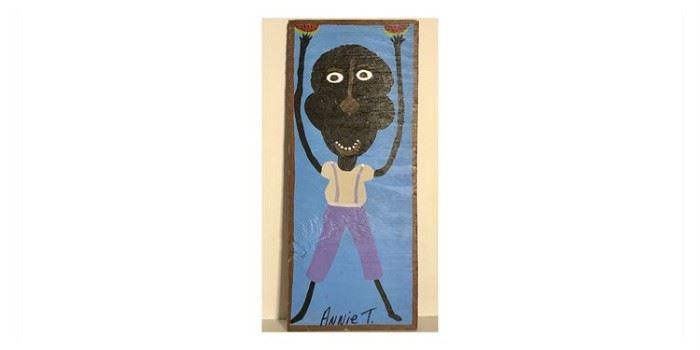"""Anne Toliver-1950-2010 Acrylic on board """"My Brother Eating Watermelon"""" Lot # RW101"""