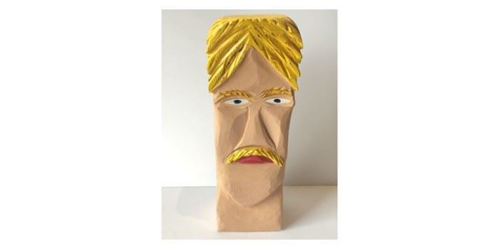 David Ricketts Carved Wooden Bust Of Man.  Lot# RW113
