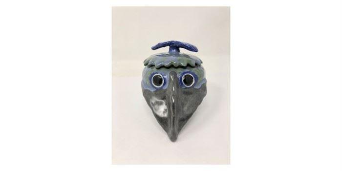 "Folk Art Ceramic ""Crow' Jar - Lot#RW148"