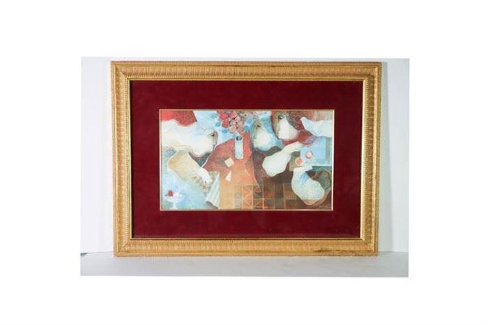 """Framed Color Lithograph """"Interior Amb Flors"""" Lot#RW122"""