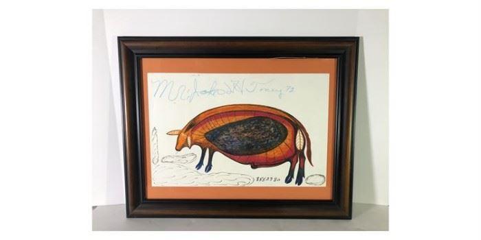 John Henry Toney Framed Mixed media Drawing Of Pig - Lot#RW109