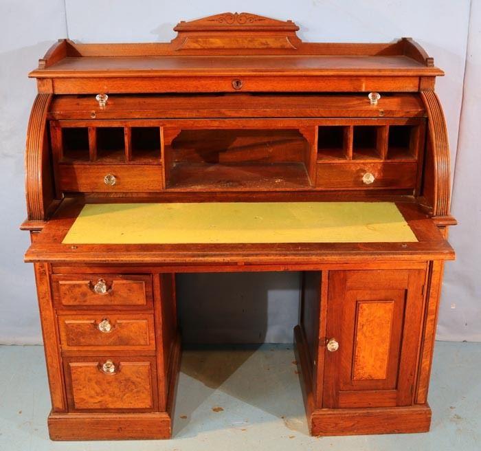 089c  Walnut Victorian cylinder roll desk with burl trim, 49 in. T, 48 in. W, 23 in. D.