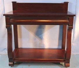 124a  Mahogany Empire server with drawer and scroll feet, 43 in. T, 42 in. W, 19 in. D.
