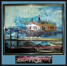 Excellent Original Oil by Morris Katz; Morris Katz holds 2 Guinness World Book Records for Fastest Painter and Most Prolific