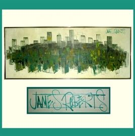 James Roberts Signed Mid Century Moden Cityscape
