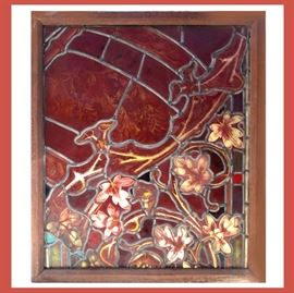 Large Antique Stained Glass; Very Interesting Piece