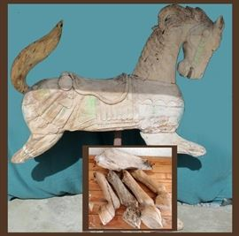 Antique Carousel Horse with all the Legs, could be fully restored or just put back together