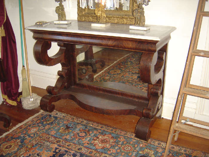 LH-2 Large Hall of Philadelphia Marbeltop Empire Console