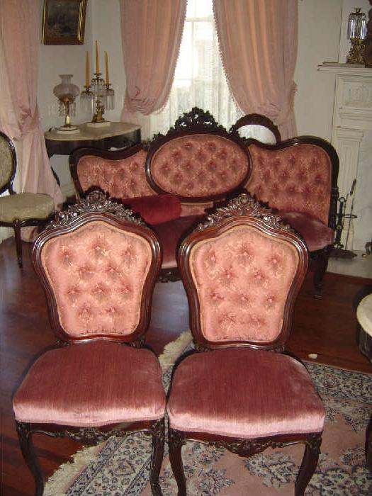 P-1 Charles Baudoine Rococco Revival Parlor Sofa (There are 2 Matching) P-11  Baudoine set 6 Rococco Revival Side Chairs ROSEWOOD