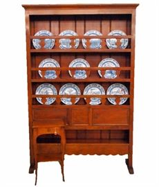 """Italian Mahogany Dish Cupboard, Cherry Side Table,  Set of 11 Wedgwood 1931 """"Views of Yale"""" Dishes"""