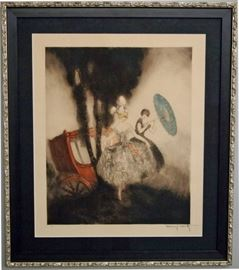 """Louis Icart """"Coach"""" Etching & Drypoint, 1926,  Numbered with Windmill Seal"""