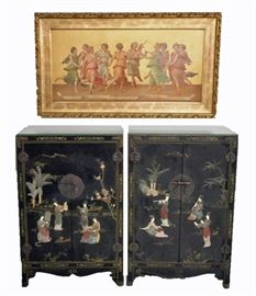 """Pair of Chinese Black Lacquer Cabinets, """"Dance of Apollo and the Muses"""" Lithograph"""