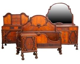 4 pc. 1920's Walnut Bedroom Set by American Furniture Co.