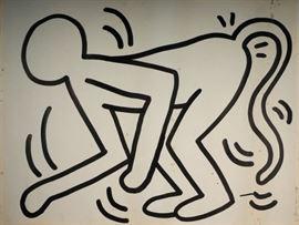 "Keith Haring 45"" x 54"" original painting."