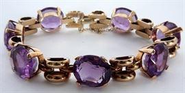 Approx. 50ctw Amethyst & Gold Bracelet