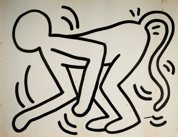 "1983 Keith Haring 45"" x 58"" Original Painting"